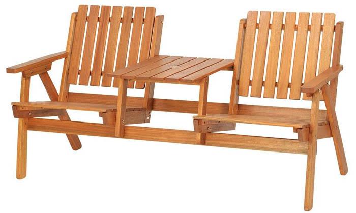 【高品質木材と天然系オイル仕上げ】ダブルチェア C-4