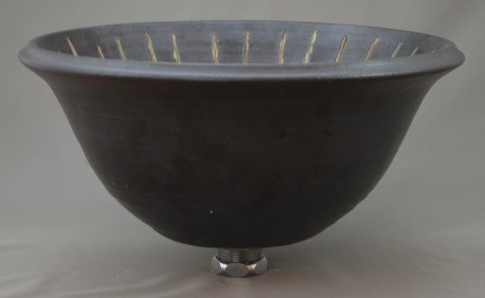 利休信楽手洗い鉢 30~33φタイプ 014-30 黒泥立渥紋様