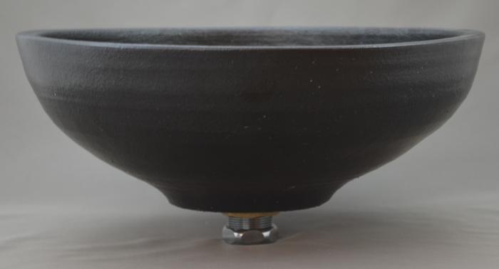 利休信楽手洗い鉢 30~33φタイプ 015-31 黒泥千引渥紋様