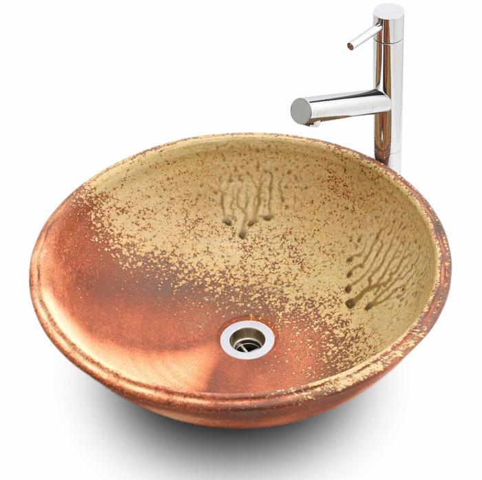 利休信楽手洗い鉢 40φタイプ 炎杉灰