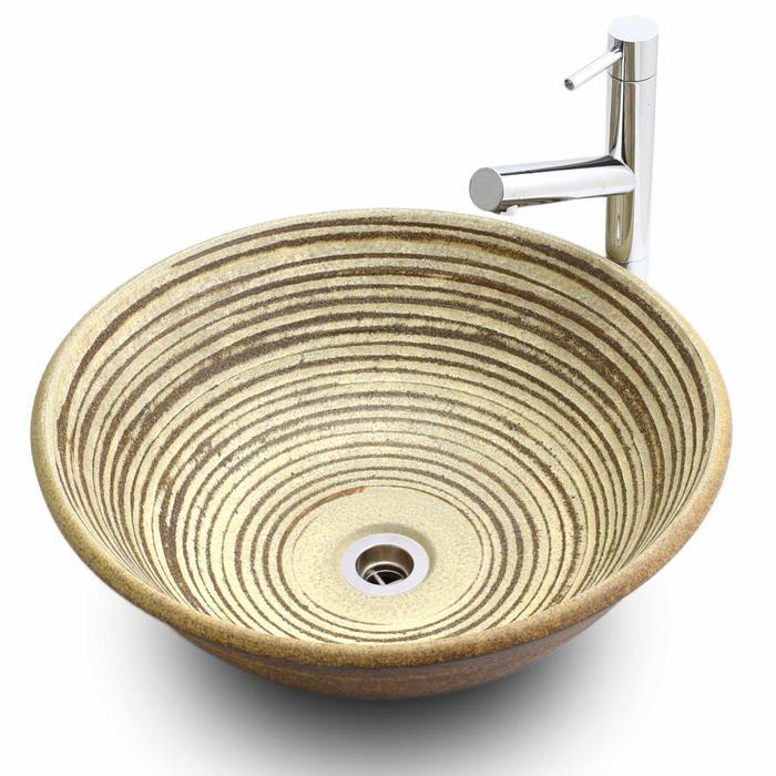 利休信楽手洗い鉢 40φエクステリア 白泥千紋様