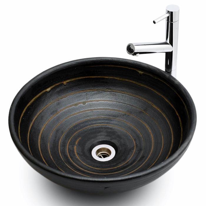 利休信楽手洗い鉢 40φエクステリア 黒泥千引
