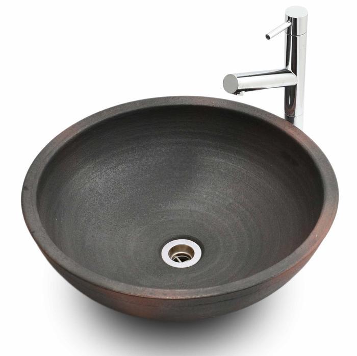 利休信楽手洗い鉢 40φエクステリア 窯自然釉
