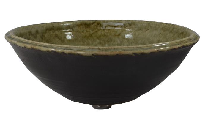 利休信楽手洗い鉢 40φエクステリ 雨流し灰釉