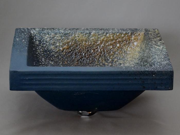 利休信楽手洗い鉢 長角W30xD24埋め込みタイプ 藍古信楽