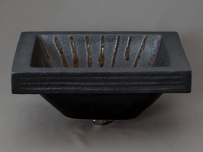利休信楽手洗い鉢 長角W30xD24埋め込みタイプ 黒泥立紋様