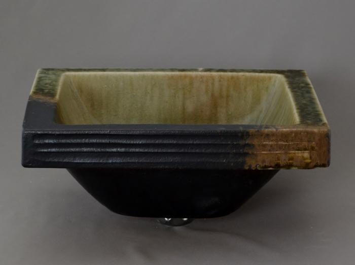 利休信楽手洗い鉢 長角W30xD24埋め込みタイプ 松灰窯変