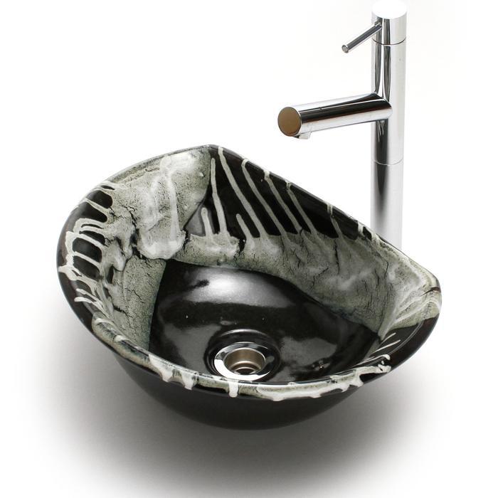 利休信楽手洗い鉢 半月D27タイプ 黒天目