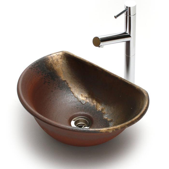 利休信楽手洗い鉢 半月D27タイプ 黄金焼締め