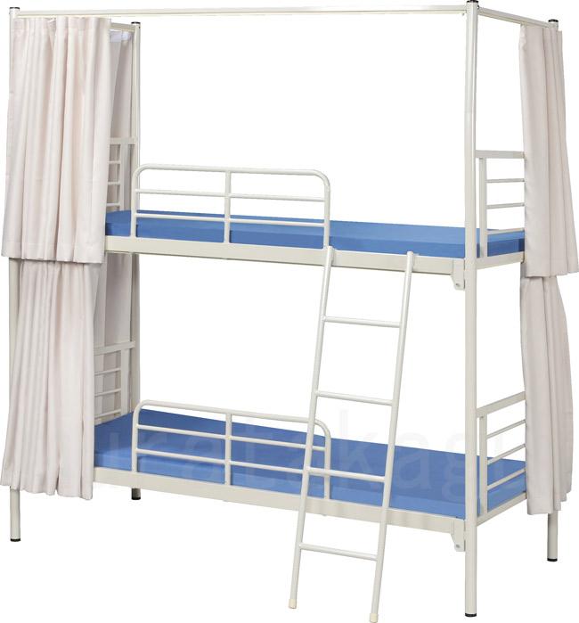 【業務用2段ベッド】【遮光カーテン付】スチールフレーム2段ベッド 3方遮光カーテン付 KM-200MN(M)-3C(遮光)