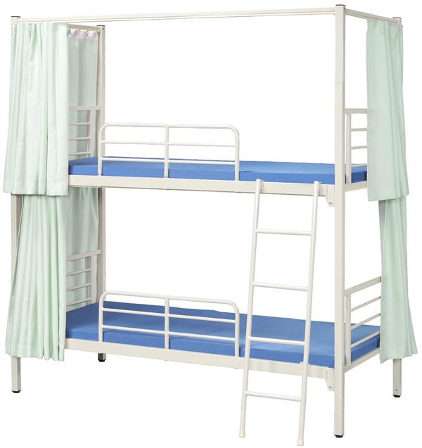 【業務用2段ベッド】【カーテン付】スチールフレーム2段ベッド 3方カーテン付 KM-200MN(M)-3C