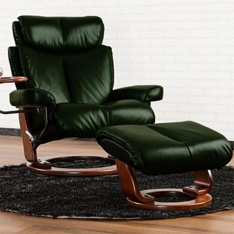 【デザインの美しさと、より「快適さ」を求めた座り心地を実現】パーソナルチェア CF+500 ヴィクトリア 本革張り(セミアニリン革) オットマン・サイドテーブル付