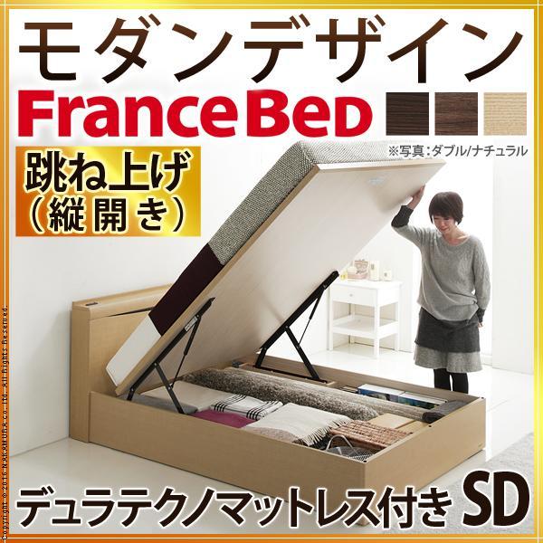 フランスベッド ライト・棚付きベッド 〔グラディス〕 跳ね上げ縦開き収納 SD デュラテクノマットレス付