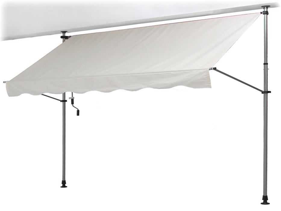 【支柱を天井と床に突っ張るだけの簡単設置!使用時以外はコンパクトに収納】オーニング 3.0×1.2M