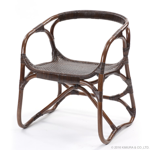 【Handmade シリーズ コンパクトで座り心地が良いラタンチェア】ラタン手編み パーソナルチェア C110KA