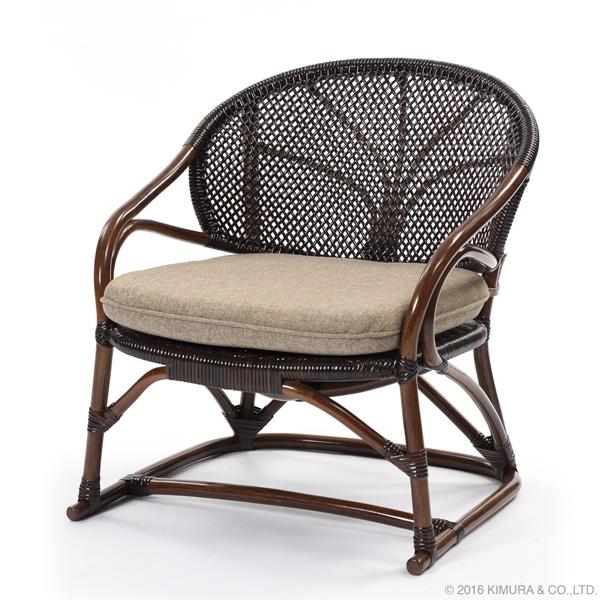 【Handmade シリーズ クッション付きで座り心地が良いラタンチェア】ラタン手編み パーソナルチェア C123KAZ