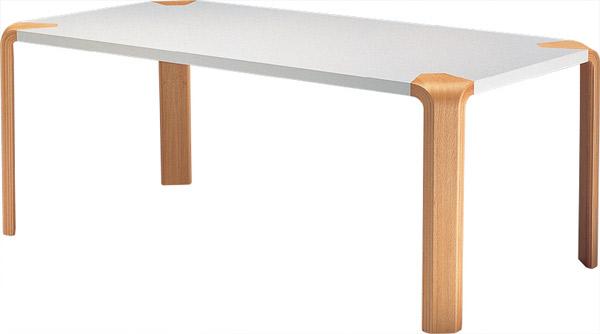 【白い甲板と木目脚の2トーン、シンプルな形状が特徴】アントラー テーブル T-2017ME-NT
