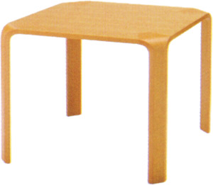 【天板と脚が一枚の木から出来ているかの様なシルエット】テーブル T-2001WB-NT