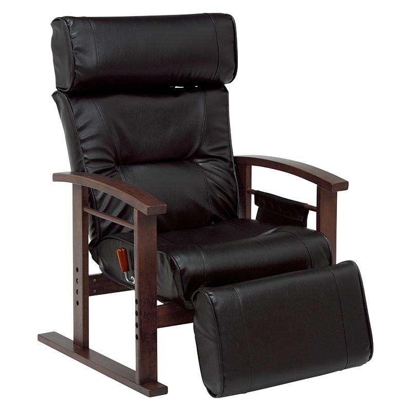 パーソナルチェア LZ-4758BK ブラック 高座椅子 無段階リクライニング 高さ3段階調節