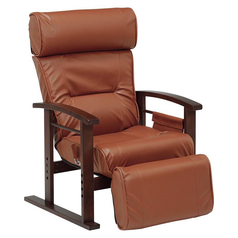 パーソナルチェア LZ-4758BR ブラウン 高座椅子 無段階リクライニング 高さ3段階調節