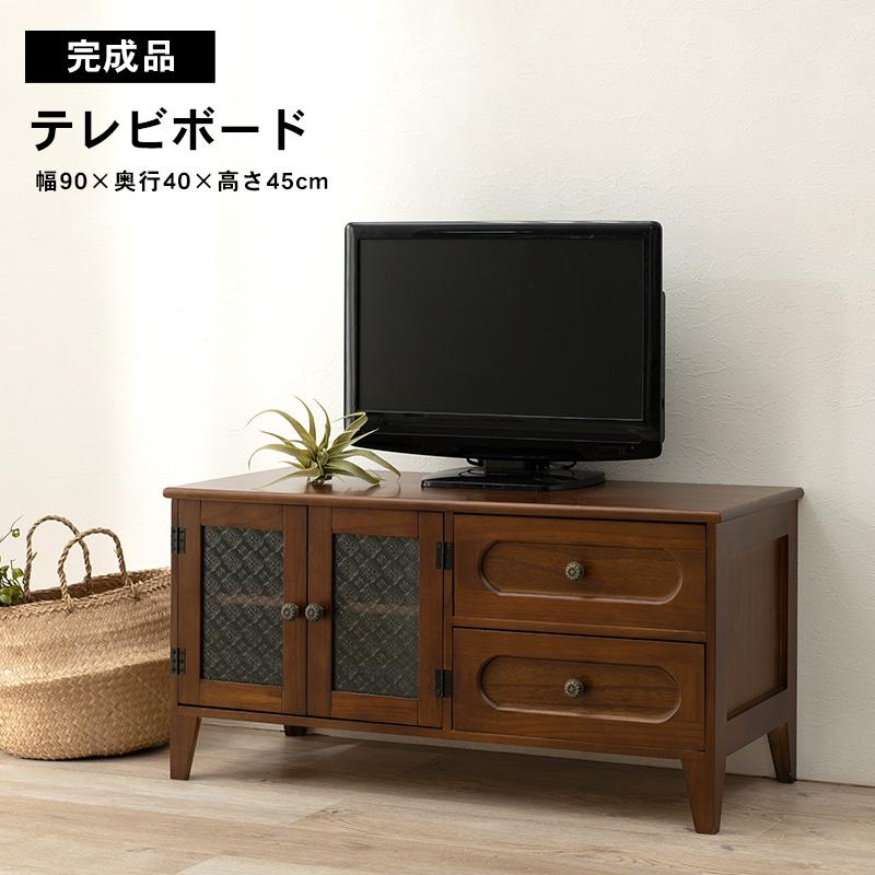 レトロ モダン テレビボード ノスタルジック 花ガラス MTV-5188BR