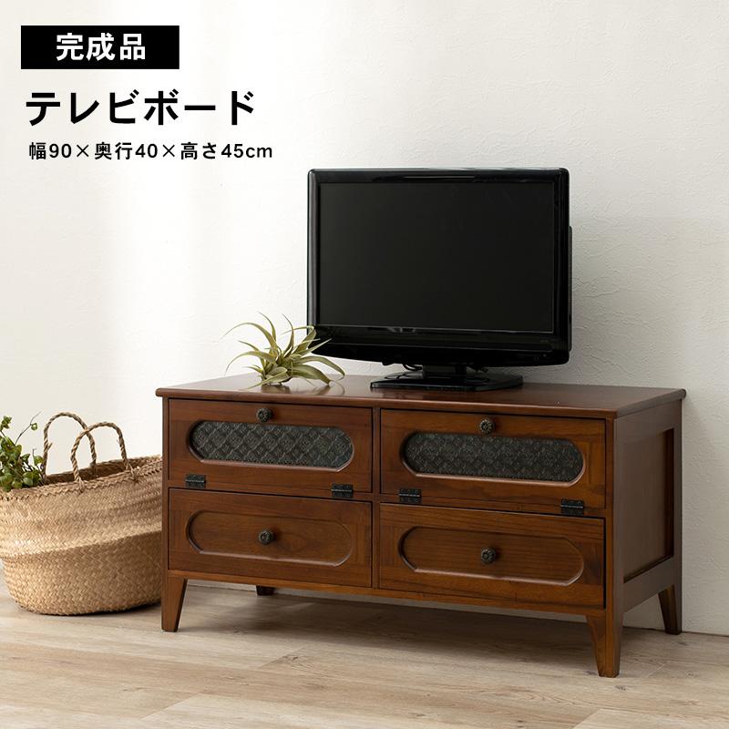 レトロ モダン テレビボード ノスタルジック 花ガラス MTV-5189BR