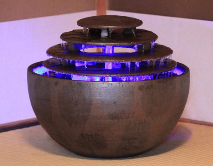 重蔵窯 水琴窟 光の水琴 琴音ボール 琴音220LED(いぶし銀)