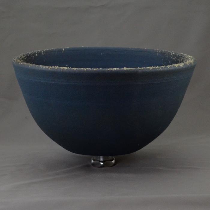 利休信楽手洗い鉢 27φタイプ 藍古信楽