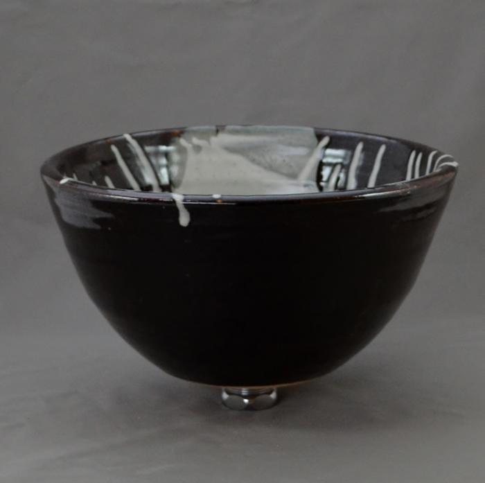 利休信楽手洗い鉢 27φタイプ 黒天目