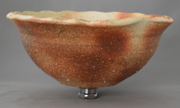 利休信楽手洗い鉢 30~33φタイプ 002-29 変形炎木灰
