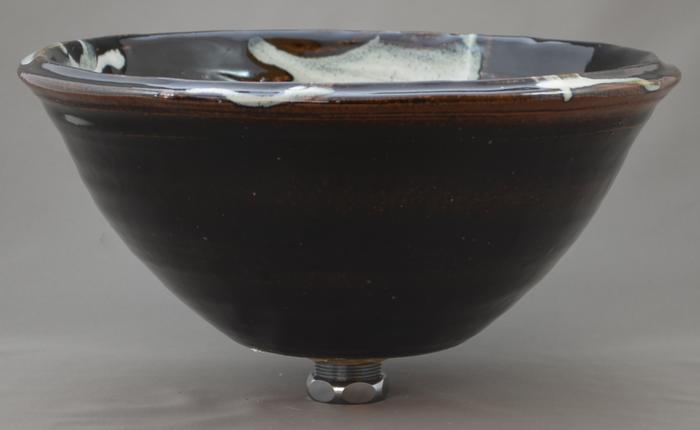 利休信楽手洗い鉢 30~33φタイプ 011-30 黒天目藁灰
