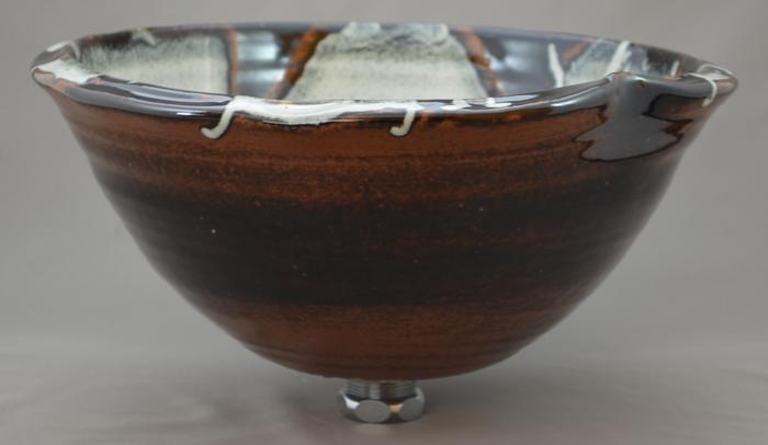 利休信楽手洗い鉢 30~33φタイプ 012-29 変形黒天目松灰