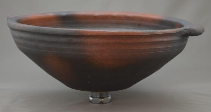 利休信楽手洗い鉢 30~33φタイプ 019-34 窯自然釉松灰