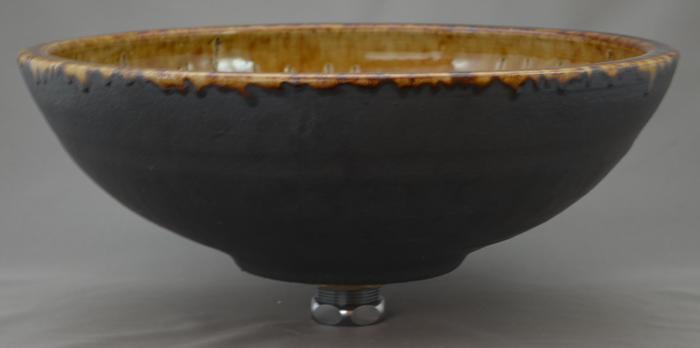 利休信楽手洗い鉢 30~33φタイプ 022-31 栗灰窯変