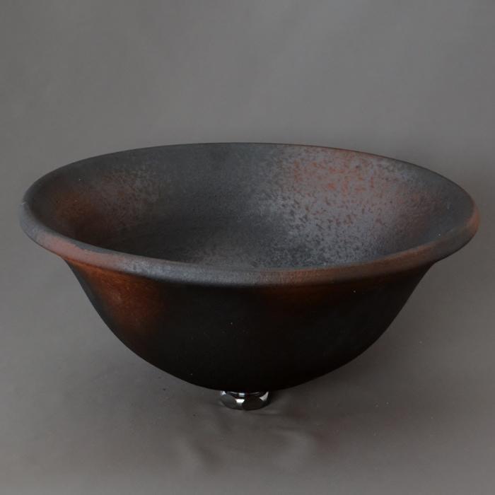 利休信楽手洗い鉢 30~33φタイプ E19-33 窯自然釉