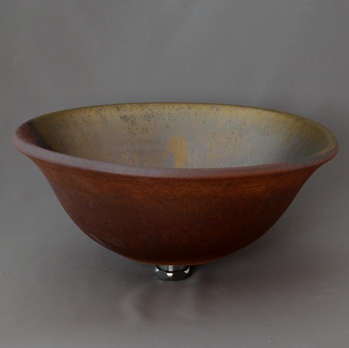 利休信楽手洗い鉢 30~33φタイプ E20-33 黄金焼締め