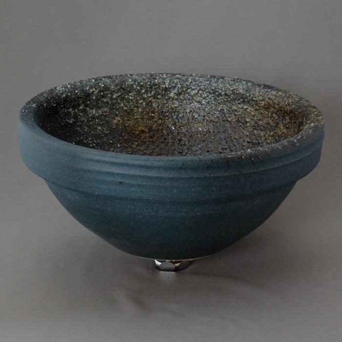 利休信楽手洗い鉢 丸30φ埋め込みタイプ 藍古信楽