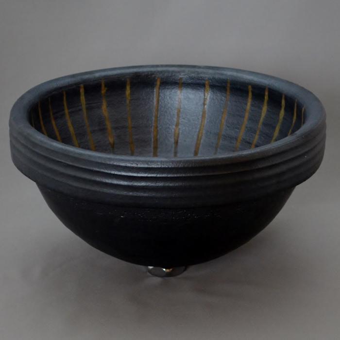 利休信楽手洗い鉢 丸30φ埋め込みタイプ 黒立紋様