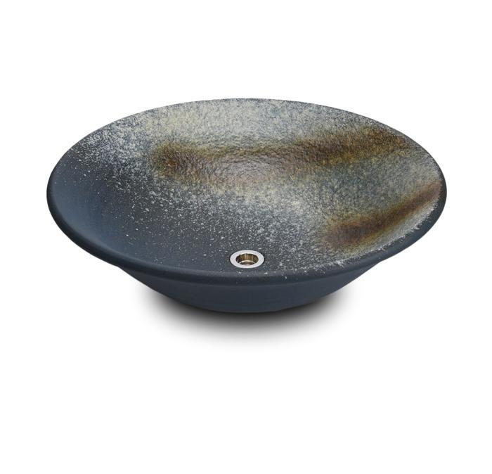 利休信楽手洗い鉢 50φタイプ 藍古