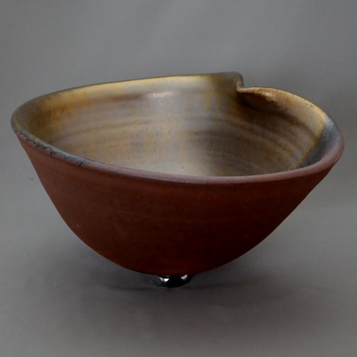 利休信楽手洗い鉢 楕円変形D27タイプ 黄金焼締め