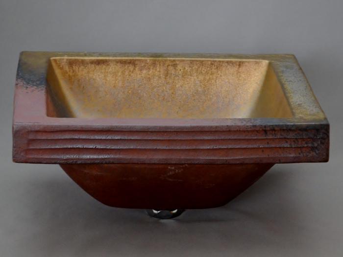 利休信楽手洗い鉢 長角W30xD24埋め込みタイプ 黄金焼締め