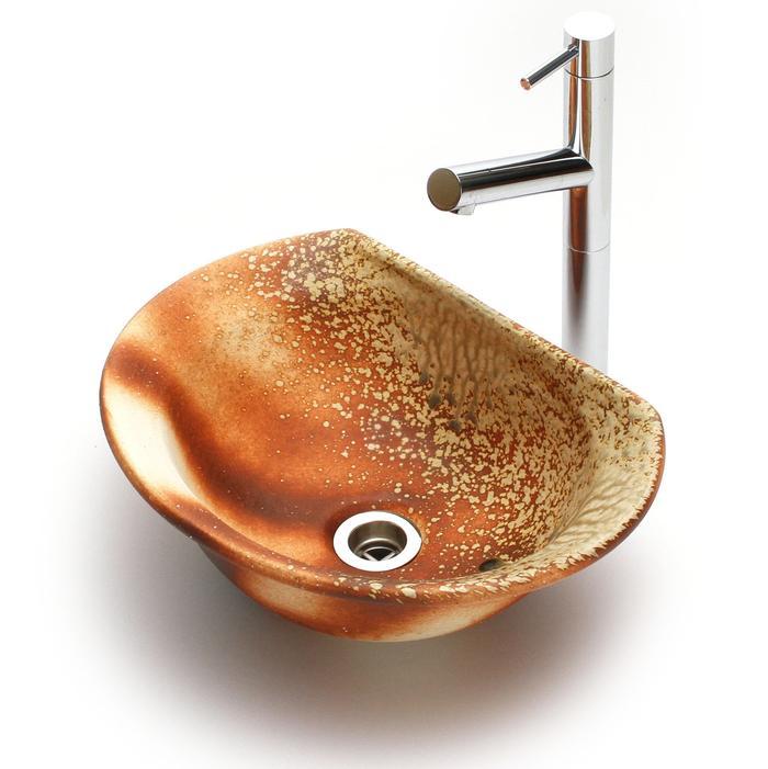 利休信楽手洗い鉢 半月D27タイプ 炎杉灰