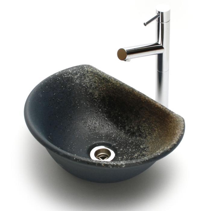 利休信楽手洗い鉢 半月D27タイプ 藍古信楽