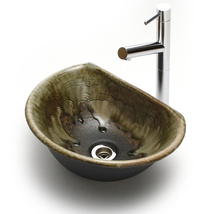 利休信楽手洗い鉢 半月D27タイプ 松灰窯変