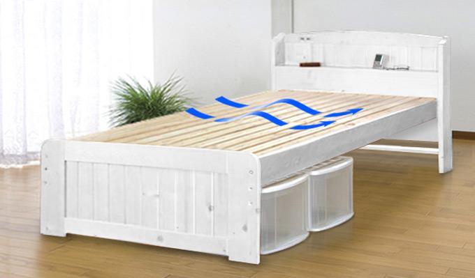 高さが調整できるコンセント付き 天然木すのこベッド LS-101(S/SD/D) ホワイト