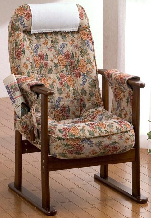 【和室洋室】木製肘付きリクニライニング高座椅子 SP-014V