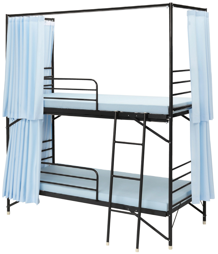 【業務用2段ベッド】【遮光カーテン付】スチールフレーム2段ベッド  IBS-203C 3方遮光カーテン付