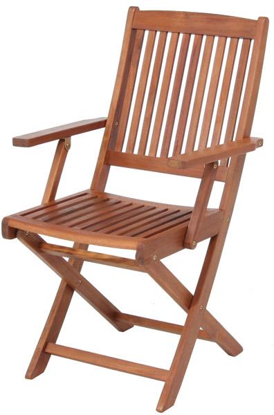 【天然木アカシア材、収納、持ち運びに便利な折畳式】フォールディングチェア肘付 GC92JP(2脚入)