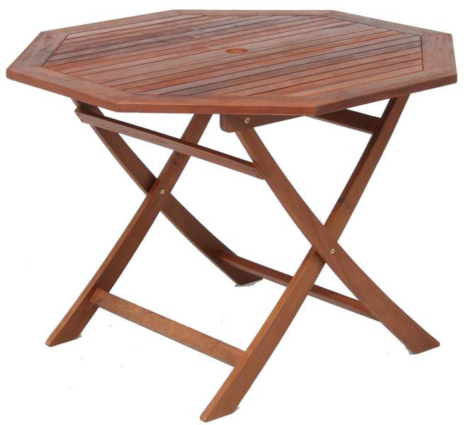 【天然木アカシア材、収納、持ち運びに便利な折り畳み式】八角テーブル 110cm GT05FB