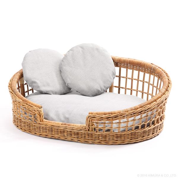 【Natural rattan シリーズ 材料に皮付のラタンを使用して自然の風合いを味わえる、おしゃれでかわいいペットカドラー】ラタン ペットカドラー GK131MER